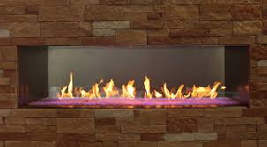 Empire Outdoor Linear See Through Fireplace Fines Gas
