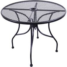 h d commercial seating mt36r 36 black wrought iron outdoor mesh top round table w umbrella hole