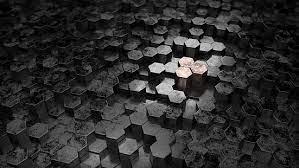 metal hexagon dark silver black 3d