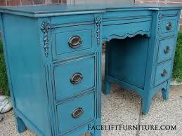 peacock blue furniture. Vanity Desk In Distressed Peacock Blue With Black Glaze. Original Pulls. From Facelift Furniture\u0027s Furniture S