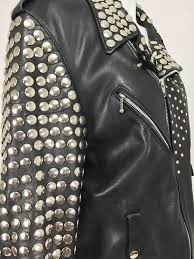 vintage heavily studded black leather motorcycle jacket mens small for 4