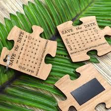 engraved wooden puzzle wedding save the date unique wooden wedding save the date