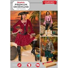 Pirate Costume Pattern Gorgeous Simplicity Pattern EA48 Premium Print On Demand Misses' Pirate