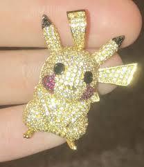 iced out pikachu pokémon pendant gold chain