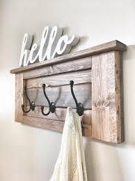 large rustic wooden entryway coat rack