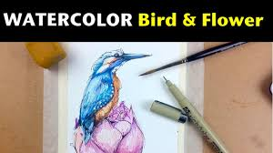 watercolor ink tutorials how to draw paint a bird flower you