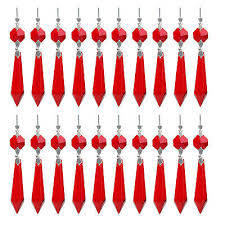 30 red chandelier glass crystals lamp prisms parts hanging drops pendants 38mm holiday