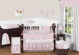 elegant light pink erfly crib bedding set 9pc baby girl nursery collection damask print