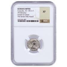 ad 198 217 roman empire silver denarius of caracalla seven hills d silver ngc xf lpm