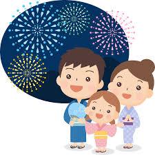 夏祭りのイラスト打ち上げ花火を眺める浴衣姿の家族 無料フリー