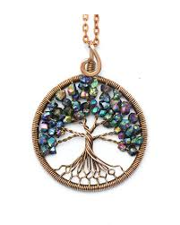tree of life pendant wire tree of life tree of life necklace family tree wire wrapped pendant copper wire pendant blue pendant