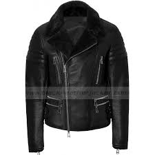 mens designer black leather jacket with fur collar