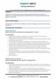 Activities Aide Sample Resume