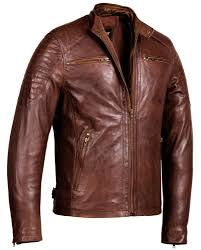 brown corbani racer leather jacket with quilt front