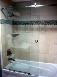 serenity frameless sliding shower door contemporary bathroom