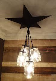 mason jar chandelier barn star country rustic primitive pendant light 5 jars in home