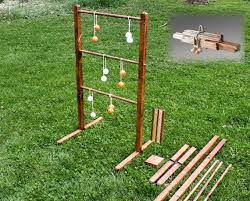 Wooden Ladder Ball Game Interesting Ladder Ball Game Stained Wooden Ladder Toss Yard Game Wedding Etsy