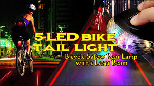 <b>5</b>-<b>LED</b> Bike Tail Light Bicycle Safety Rear Lamp with 2 <b>Laser Beam</b> ...