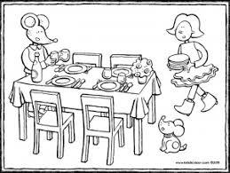 Familie Aan Tafel Kleurplaat Emma Und Leon Decken Den Tisch