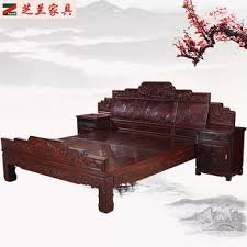 Chinese Style Solid Rosewood Bedroom Furniture Bed Set /side Table Antique  Style Wooden Bed Blackwood