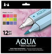Spectrum Noir Aqua Artist's <b>Water Based</b> Dual Nib Marker Colouring ...