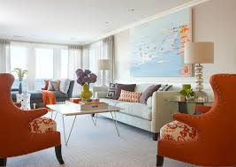 orange accent chair living room contemporary with wood table incandescent  pendant lights