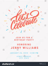 Lets Celebrate Invitation Card Template Stock Vector Royalty Free