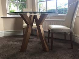 oak and glass round dining table