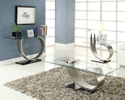 3 piece glass coffee table set silver