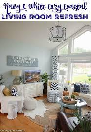 cozy coastal navy and white living room refresh living rooms cozy beach house room l41 beach