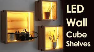 led wall cube shelves  youtube