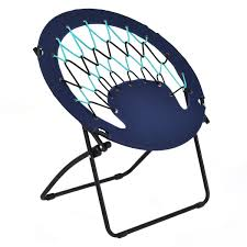 com giantex folding round bungee chair steel frame camping hiking garden patio blue kitchen dining