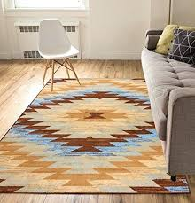 thin area rugs tribal medallion blue 5 x 7 southwestern transitional best low pile area rugs