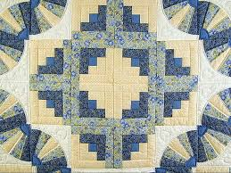 Fan Log Cabin Quilt -- outstanding meticulously made Amish Quilts ... & ... Blue and Yellow Cream Fan Log Cabin Quilt Photo 4 ... Adamdwight.com