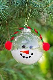 Lovely DIY Ornaments For Kids Christmas Decoration : Cool Christmas Snowman  Ornament Craft Made with Clear Glass Ball for Christmas Tree to .