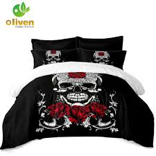 black silver skull bedding cover flowers las sweet duvet cover set king queen bedroom decorative gift ropa de cama d49 bedding sets full comforter queen