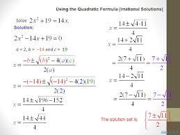 solve a 2 b 14 and c 19 classroom example 2 9 solve quadratic equations