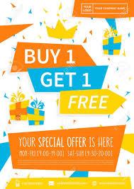 Special Offer Flyer Promotion Banner Buy 1 Get 1 Free Vector Illustration Special