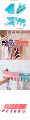 Multifunction Socks Drying Racks Bathroom Rack Traveling Clothespin Travel  Portable Folding Cloth Hanger Clips