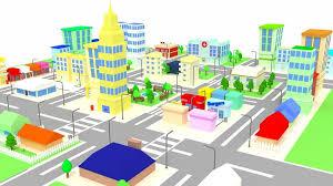 cartoon city royalty free 3d model preview no 1