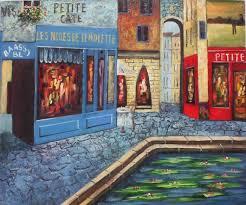 european scenes oil painting 248 french bistro café pond europ
