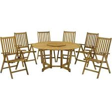 royalcraft henley hardwood round eg garden table with lazy susan and 6 manhattan recliner chairs