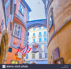 Vienna Austria February 18 2019 The Tiny Medieval Street In