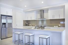 White Modern Kitchen With White Bar Stools