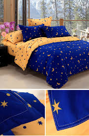 kcasa kc bs20 4pcs bedding suit polyester fibre star moon reactive printed bedding sets