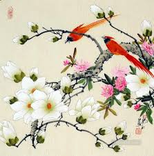 chinese bird flower parrot oil paintings
