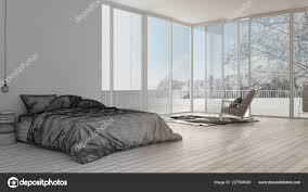 Unvollendetes Projekt Entwurf Minimalistisches Schlafzimmer Mit