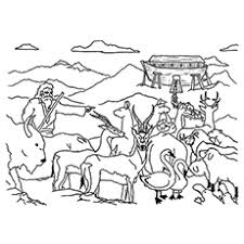 This is a coloring page of noah leading the animals up onto the ark. Top 10 Noah And The Ark Coloring Pages Your Toddler Will Love To Color