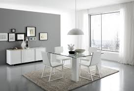 modern kitchen table set. Modern Dining Sets In White Theme With Square Table Made Of Transparent Glass And Kitchen Set