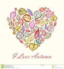Designs Made From Leaves Autumn Card Design With Heart Made Of Leaves Illustration
